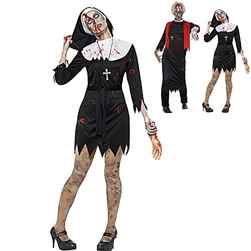 Coppie di Halloween costumi adulti horror sanguinosa Costumi Zombie vestito operato rifornisce Suora e sacerdote di Cosplay del partito vestire performance Abbigliamento per Halloween Carnival,A,XL