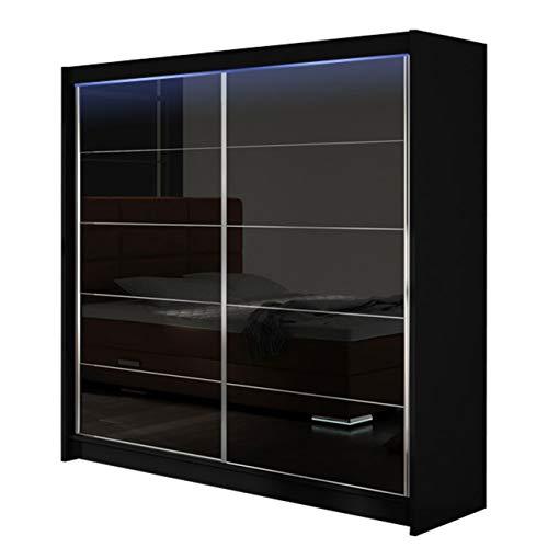 Modernes Kleiderschrank Falco I, Schlafzimmerschrank, Schiebetürenschrank, Hochglanz, Garderobe, Schlafzimmer, Schwebetürenschrank (Schwarz/Schwarz...
