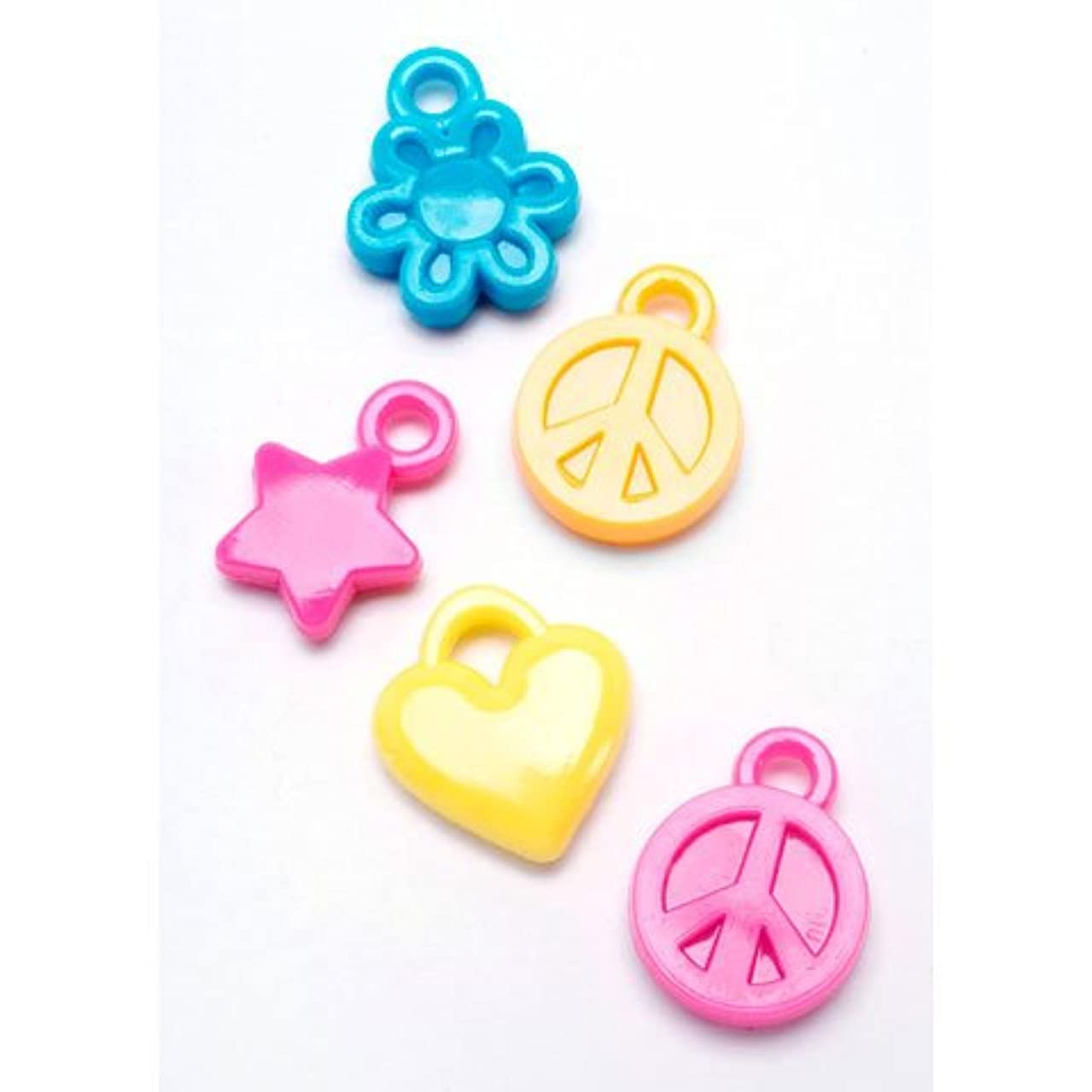 Bulk Buy: Darice DIY Crafts Plastic Charms Flower, Heart, and Peace Sign Assorted Color 100 pieces (3-Pack) 0726-93