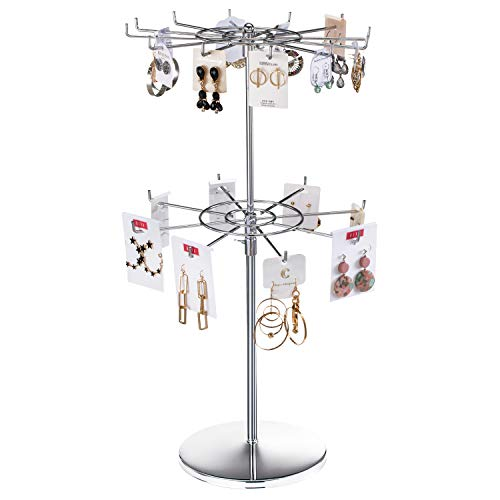 APL Display Stand 2 Tier/3 Tier Thicken Counter Top Spinner Rack Silver Metal for Malls, Showroom,Retail Store (Silver, 2 Tier)