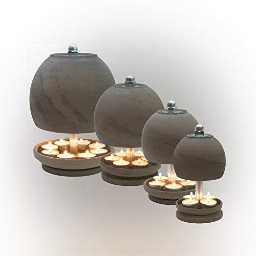 Hp Tlo Serie B Quattro, lámpara para velas de té, horno de mesa = El VIERER – Juego completo = forma esférica suave, de arcilla cocida en color negro.