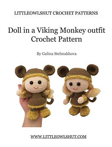 188 Crochet Pattern - Girl Doll in a Viking Monkey outfit ... | 500x383