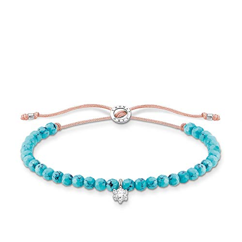 Thomas Sabo Turquoise Bead Bracelet with White Stone 925 Sterling Silver 13-20cm Length