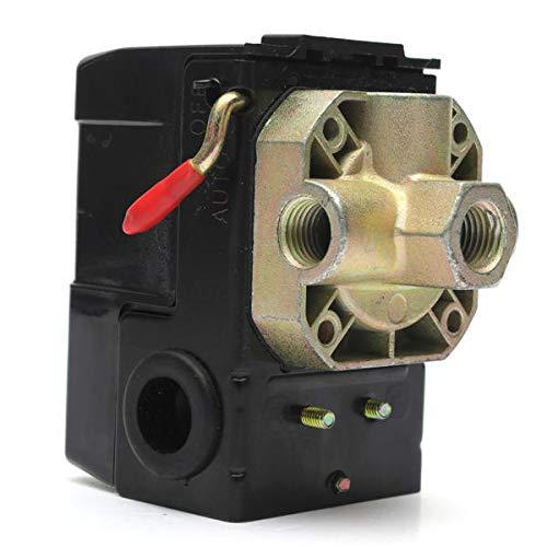 NICOLIE Válvula de Control del Interruptor de presión del compresor de Aire 4 Puertos 90-120PSI 26 AMP 240VAC