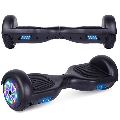 "UNI-SUN Chrome Hoverboard for Kids, 6.5"" Two Wheel Electric Scooter, Self Balancing Hoverboard with LED Lights for Adults, UL 2272 Certified Hover Board (Black Without Bluetooth)"