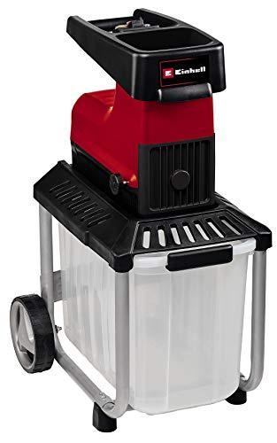 Einhell Elektro-Leisehäcksler GC-RS 60 CB (2800 W, max. 45 mm Aststärke, Schneidwalze, große Trichteröffnung, Drehrichtungsumschalter, transparente 60 L Fangbox, integrierter Sicherheitsschalter)