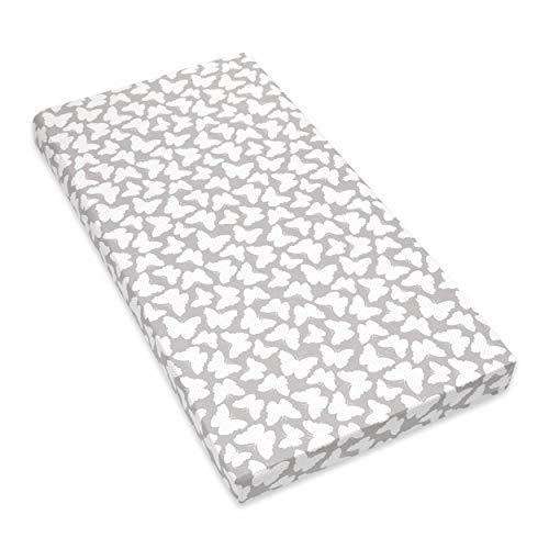 Amilian Spannbettlaken Spannbetttuch für Babybett Kinderbett 60x120 cm, 70x140 cm, 100% Baumwolle, fürs Baby, Baby Bettwäsche Größe: 120x60 cm, Muster: Schmetterling Grau