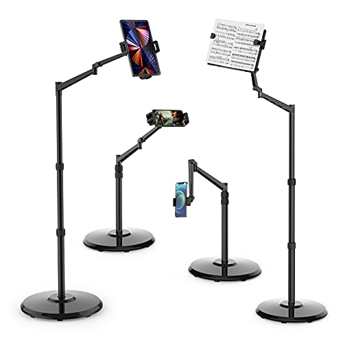 Smatree Soporte de Suelo para Tableta iPad con Soporte para Libros, Soporte Giratorio de 360 Grados Ajustable en Altura para 4,7 a 12,9 Pulgadas iPhone/ iPad/ Samsung Galaxy/ Surface/ Partituras