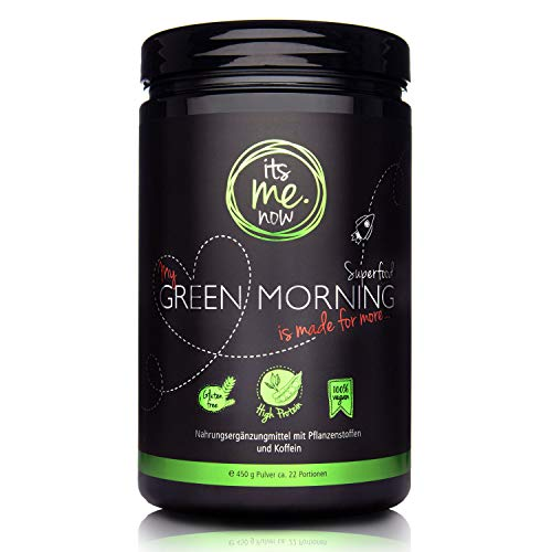 itsme.Now® My Green Morning Smoothie Pulver - 450 g Superfood - Protein Frühstücksshake aus 20 Pflanzenstoffen - Vegan & Ohne Zusätze - Made in Germany