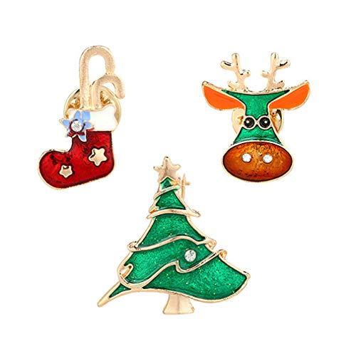 Faliya 3pcs Weihnachtsbrosche Pin für Familie Nette Strass Weihnachtsbaum Strumpf Hirsch Brosche für Festival Geschenk Party Dekoration Ornament