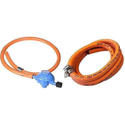 Campingaz 200977 - Kit Regulador, 29Mbar, Para Conexión A Botella Azul Funcionen Con Bombonas Recargables + Homelux 300060 Manguera Gas Butano Con Abrazaderas, 1.5 M