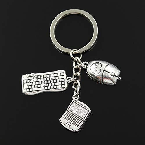eaz Oersonalized key chain Fashion 30mm Key Chain Keychain Jewelry Silver Color Laptop Computer Keyboard Mouse Pendant key+chain+bracelets