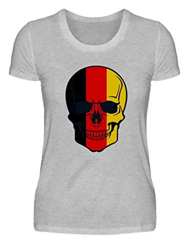 Algemeen Belgian Skull - doodshoofd België kleuren - zwart rood goud - zwart rood goud - zwart rood goud - dames shirt