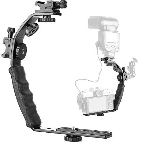 ChromLives Kamera L Halterung L Einfassung Video Grip L-Halterung mit Doppelblitz Kaltschuhhalterung,1/4'' Stativschraube, Gepolsterter Hochleistungshandgriff für DSLR Kamera