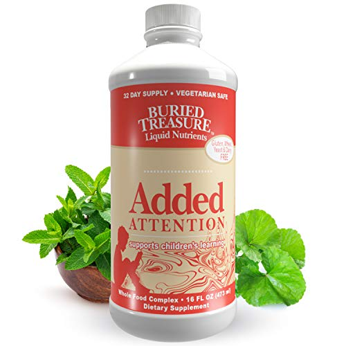 Buried Treasure - Added Attention - Children's Learning Support with GABA DHA Vitamin B and Herbal Blend - Aid Healthy Brain Functions - Improved Short-Term Auditory Memory Focus & Behavior 16 oz