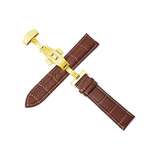 Correas de reloj correa de cuero 12-24 mm pulseracorrea dehebilla de mariposa automática de doble empuje-Gold_buckle_brown-w_12mm
