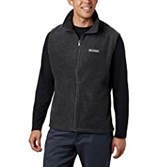 DEEP PILE FLEECE: The Columbia Collegiate Men's Flanker Vest II is crafted of deep and cozy 250g MTR filament fleece for ultimate warmth and college flair ULTIMATE COMFORT: With a collared neck and full zip closure, your core will stay warm, while fr...
