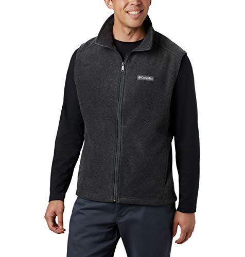 Columbia Men's Steens Mountain Full Zip Soft Fleece Vest, Charcoal Heather, X-Large