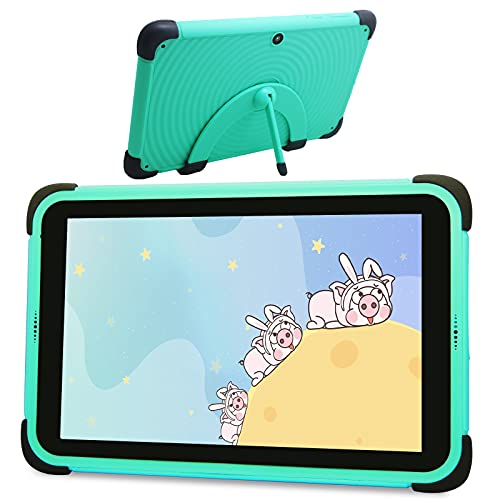 Tablette Android 11 pour enfants 8 pouces Full HD Display Tablette PC 3 Go de RAM, 32 Go de ROM Tablette d apprentissage avec support pour étui à l épreuve des enfants pour les tout-petits (Vert)
