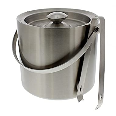 Stainless Steel Ice Bucket – Portable Double Wall Ice Bucket with Tong, Barware, Serveware for Party, Event, and Gathering, 7.5 x 7.5 Inches