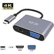 ICZI Adaptateur Type C vers VGA (1080P) HDMI(4K) Convertisseur USB C en Aluminium Compatible avec MacBook Pro, MacBook, Samsung Galaxy S8 S9 Plus, Dell XPS 15 13, Huawei Mate 20 Pro P20 et Plus