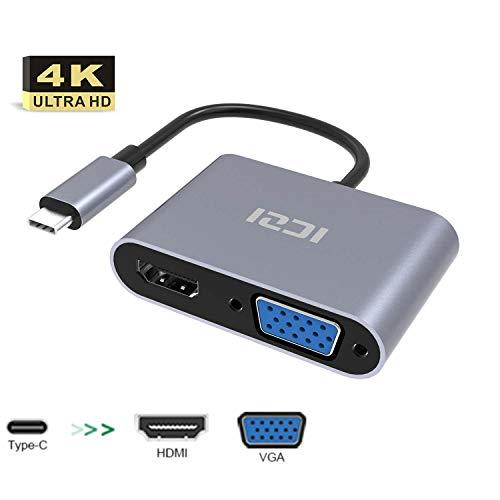 ICZI Adaptador USB C Thunderbolt 3 2 en 1 Adaptador USB Tipo C a HDMI 4K y VGA 1080P para Macbook Pro Samsung S10 Huawei iPad Pro 2018 etc, Soporta HDMI y VGA Funcionan a la Vez