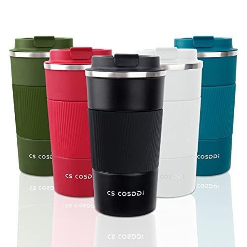 CS COSDDI Thermobecher- Isolierbecher, Edelstahl Travel Mug, 18oz/510ml Vakuum auslaufsicher Reisebecher mit Deckel, Autobecher, doppelwandig isoliert für Kaffee, Wasser und Tee, Kaffee-to-go Becher