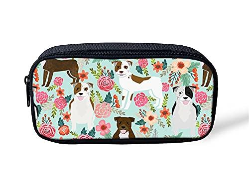 VJSDIUD Estuche de gran capacidad de almacenamiento floral Pitbull estuche con compartimentos bolsa de papelería pluma Protable Papelería Bolsa Estudiante Escuela Titular de Lápiz Adolescentes