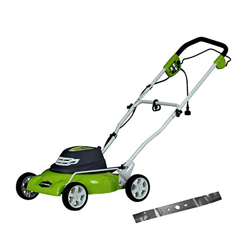 Greenworks 18-Inch 12 Amp Corded Electric Lawn Mower with Extra Blade 25012
