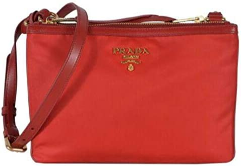 Prada Tessuto Nylon Red Double Zip Crossbody Bag 1BH046 product image