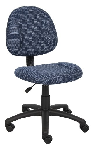 Boss Office Products Perfect Posture Delux Fabric Task Chair without Arms in Blue