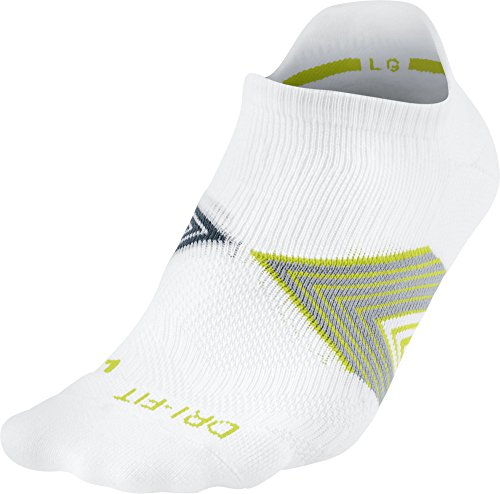 Nike No Show Socks Running Dri Fit Cushioned Calcetines, Unisex Adulto, (White Stdmgy/Sqdrbl), L (42-46)