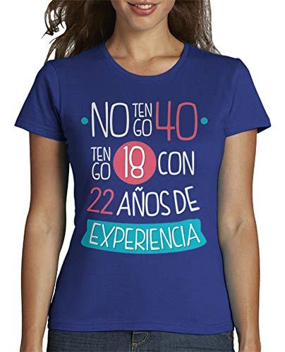 latostadora - Camiseta 1978 No Tengo 40 para Mujer Azul Royal M
