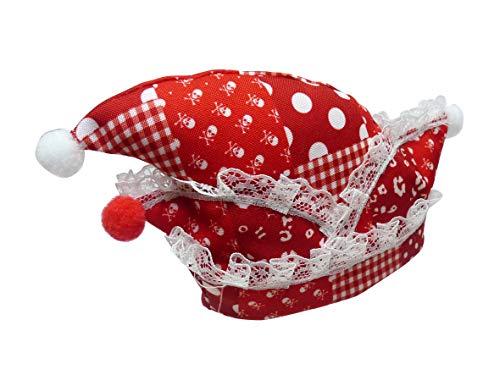 _ Haarclip Narrenkappe rot weiß Haarschmuck Karneval Kostüm Fasching Haarspange