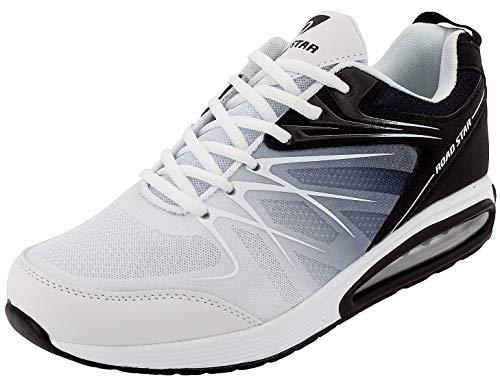 LEKANN No.308 Herren | Sportschuhe Turnschuhe Laufschuhe Sneaker | mit Dämpfung und rutschfest | Weiß-Schwarz Gr. 43 EU