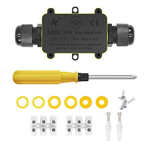 Scatole di derivazione,IP68 Scatole Impermeabili Esterno Scatole per Collegamenti per 4-9 mm Diametro Cavo,Nero Scatola di Giunzione Esterno Connettore Cavi Elettrici Impermeabile (1 Pack)