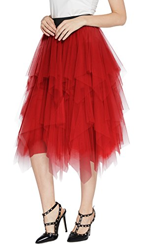 Urban CoCo Women's Sheer Tutu Skirt Tulle Mesh Layered Midi Skirt (L, Red)