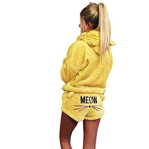 Ketamyy Mujer Dos Piezas Conjunto de Pijama Invierno Cálido Cómodo Ropa de Dormir Adorable Gato Orejas Sudadera con Capucha + Gato Bordado Pantalones Cortos Amarillo S