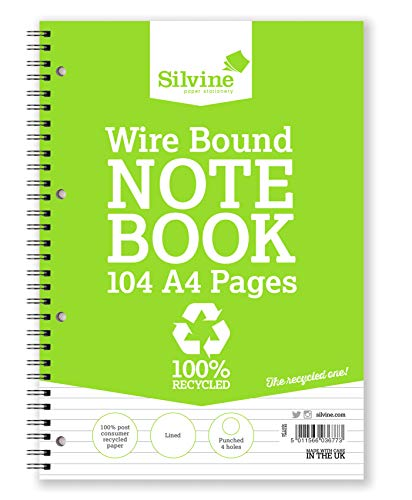 Silvine 104 Page A4 Everyday Recycled Wirebound Notebook, Ruled 8mm Feint