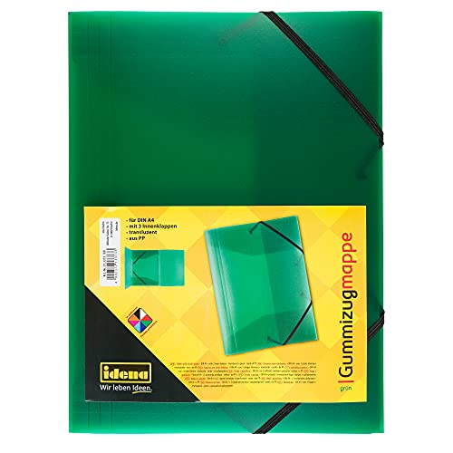 Idena 213373 - Gummizugmappe für DIN A4, aus Polypropylen, transluzent grün, 1 Stück