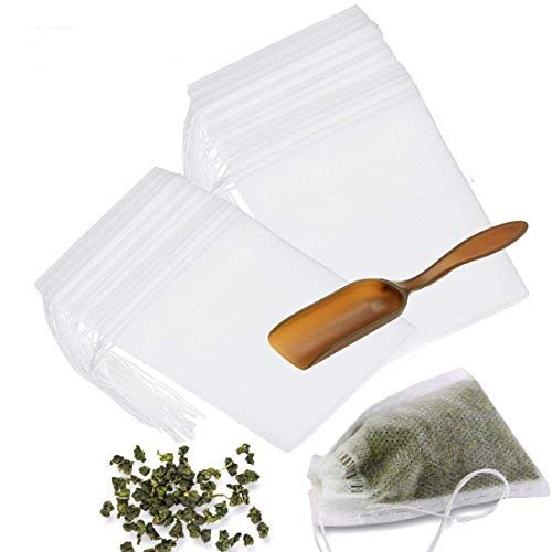 Tea Filter Bags with Free Tea Spoon, Safe & Natural Material, Disposable Tea Infuser for Loose Leaf Tea, Coffee, Spice, Herbs (300 PCS)