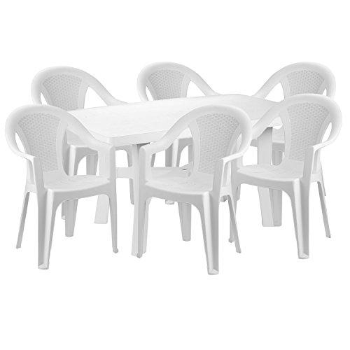 Mojawo® Praktisch und Schön! - Gartengarnitur 7-teilig - Esstisch Kunststoff 140x90cm + 6 Stapelstühle - Kunststoff - Weiß