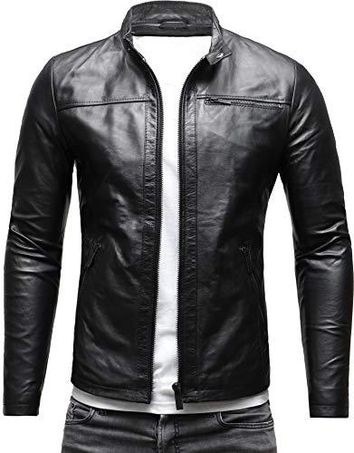Crone Epic Herren Lederjacke Cleane Leichte Basic Jacke aus weichem Schafs-Leder (M, Shiny Black (Anilinleder))