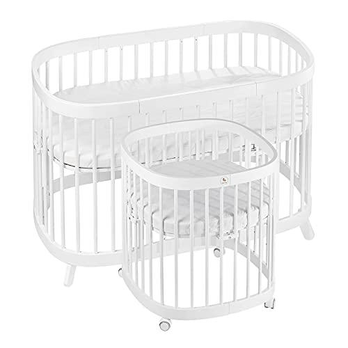 Cuna para bebé 7 en 1, 1 juego completo/haya, 7 variantes, convertible, multifuncional, con colchón blanco