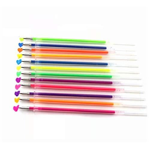 48 recambios de tinta de gel de colores no tóxicos, para bolígrafos de gel, tinta multicolor, tinta de gel, recargas, varilla, papel escolar, color aleatorio