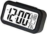 gs GREATERSCAP Digital Smart Back-Light Alarm Clock with Automatic Sensor,Date & Temperature (Black)