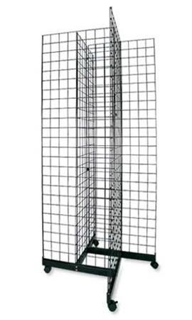Black 4-Way Wire Grid Tower with Base and Casters