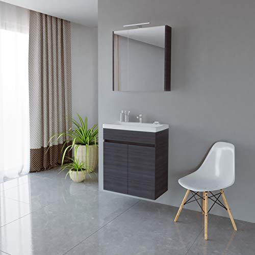 Planetmöbel Waschtisch + Spiegelschrank Badmöbel Set 63cm für Badezimmer WC (Anthrazit)
