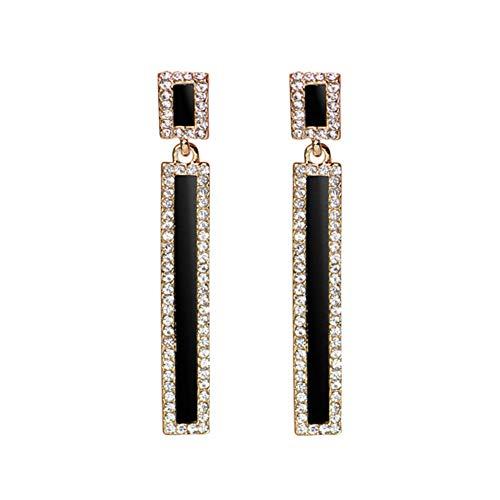 MSYOU Alloy Earrings Elegant Long Rhinestone Pendant Geometric Style Temperament Charm Earrings Ladies Girls Birthday Jewelry (Black)