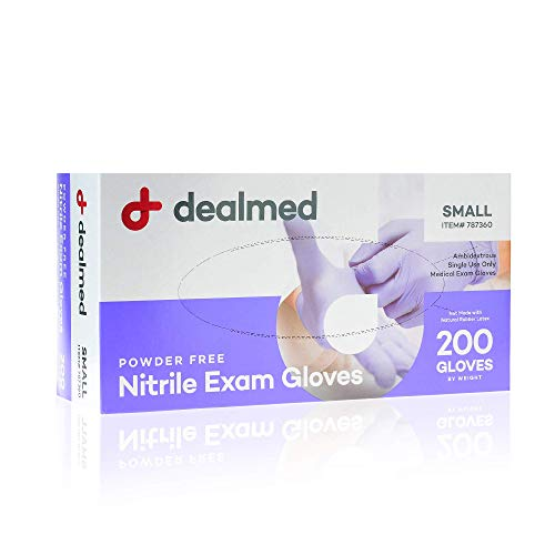 Dealmed Nitrile Medical Grade Exam Gloves, Disposable, Latex-Free, Small (200 ct.)
